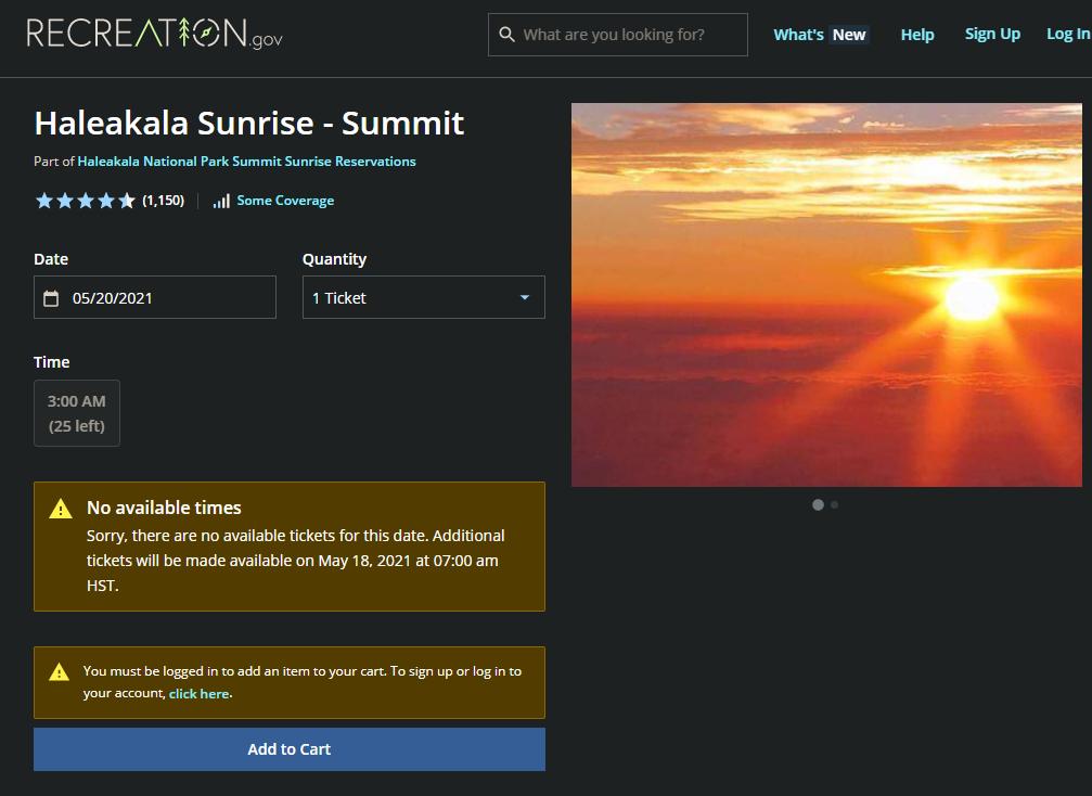 Haleakala Reservation Website